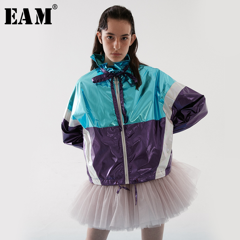 EAM 2019 New Spring Summer Stand Collar Long Sleeve Red Hit Color Ruffles Stitch Big