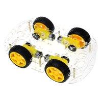 Completo-jogo de carro inteligente 4wd robô inteligente chassis do carro kits com codificador de velocidade e caixa de bateria para arduino kit diy