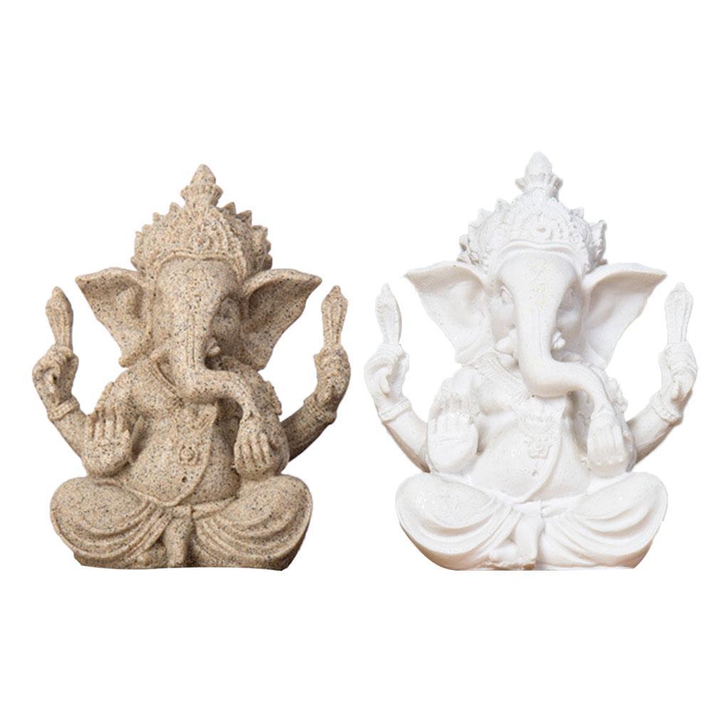 1 Pc Sandstein Ganesha Buddha Elefanten Statue Skulptur Handgemachte Figurine Miniaturen Wohnkultur