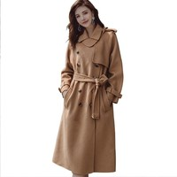 Double faced Cashmere Autumn Coat Women Fashion Vintage Double Breasted Jacket Elegant Female Wool Blends Warm Long Overcoat H21