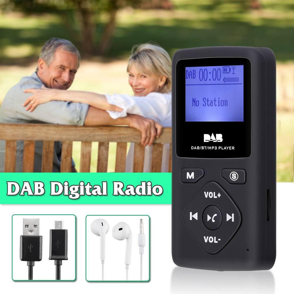 Portable 1.8 pouces récepteur de Radio numérique bluetooth lecteur MP3 Support TF carte extérieure appelant mains libres avec écouteur DAB Radio