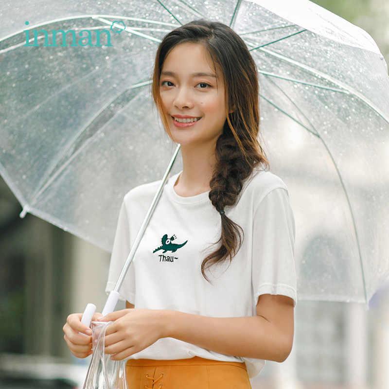 Inman Musim Panas Baru Leher O Katun Longgar Kasual Semua Cocok Lengan Pendek Wanita T-shirt