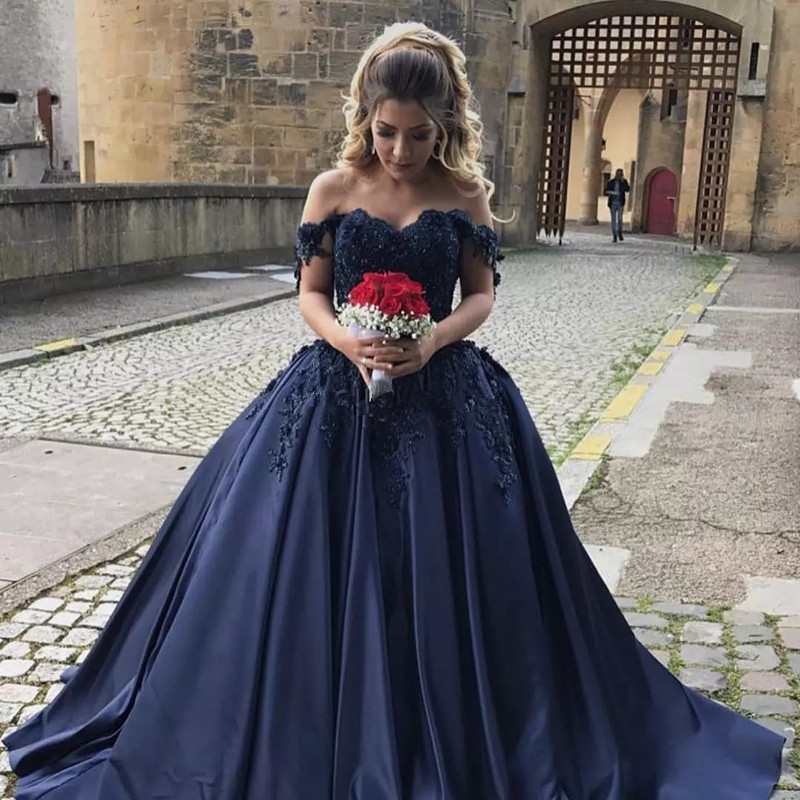Robe de bal longue Navy Blue Prom dress Long 2019 Custom made Plus size Satin Prom dresses Evening Party Gowns-in Evening Dresses from Weddings & Events    1