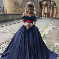 Robe de bal longue bleu marine Robe de bal longue 2019 sur mesure grande taille Satin robes de bal robes de soirée