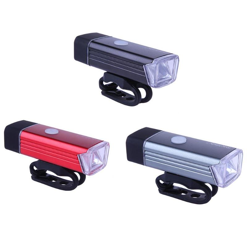 1Pcs USB Rechargeable Aluminum Alloy Bicycle Front Light Lamp LED Headlight Bicycle Bike Light Headlight Lamp Safety Lights New