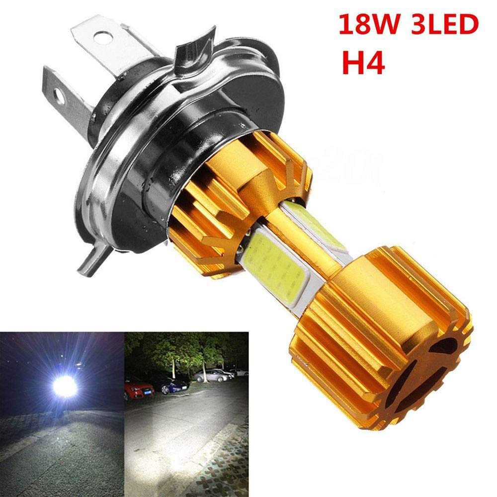 1 PC Sepeda Motor H4 18W LED COB Motor Bohlam Lampu Depan 2000LM 6000K Hi/Lo Beam Light untuk Grosir Drop Pengiriman