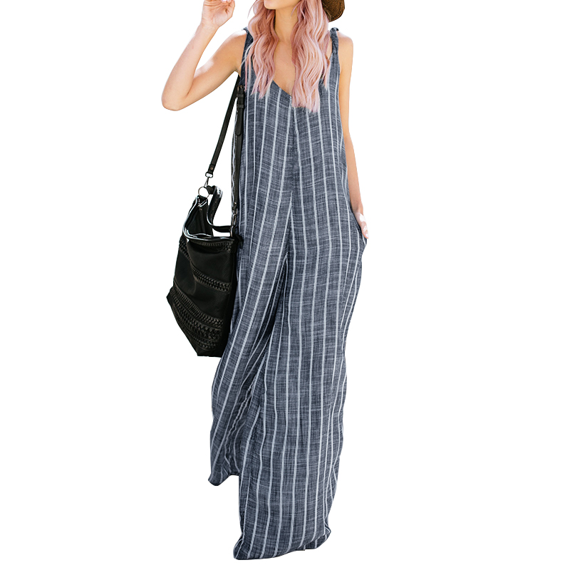 2018 ZANZEA   Jumpsuits   Women Wide Leg Trousers Striped Sexy Deep V Neck Sleeveless Strappy Summer Pants Casual Overalls Plus Size