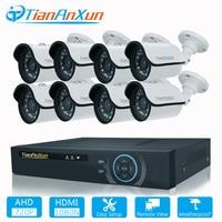 Tiananxun Video Surveillance Security Camera System 8CH CCTV Kit AHD Cameras DVR Set 720P Home Weatherproof Night Vision