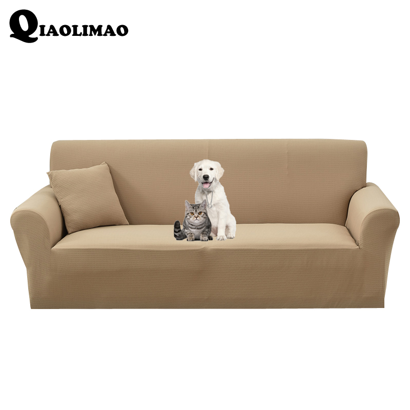 Us 6 15 56 Off Solid Color Elastic Antskid Sofa Cover Waterproof Slipcovers 95 Polyester 5 Spandex 1 2 3 Seat Couch Furniture Set In