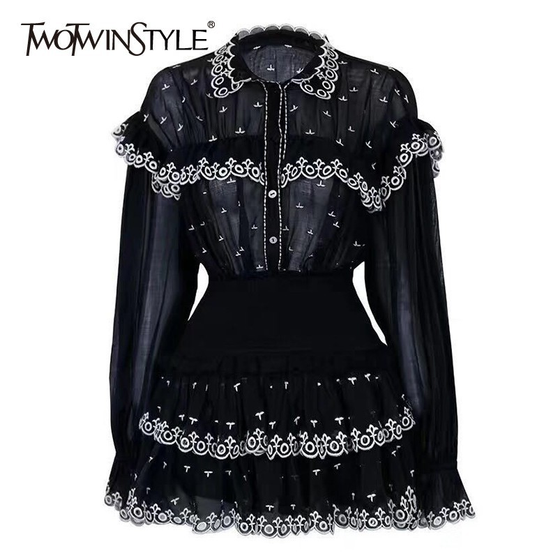 TWOTWINSTYLE Embroidery Ruffle Patchwork Two Piece Sets Female Perspective Flare Sleeve Shirts High Waist Mini Skirts Female New