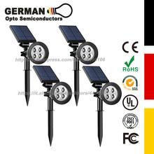 GERMAN Opto Semiconductors 4 LED Lamp Adjustable Solar Spotlight In-Ground IP65 Waterproof Landscape Wall Light Outdoor Lighting