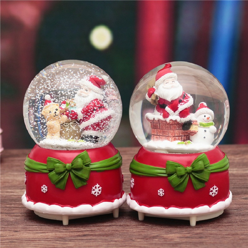 Christmas Snow Globe Music Box Santa Snowman Ball With Light Home Bedroom DIY Decoration Christmas Toys New Year Birthday Gifts