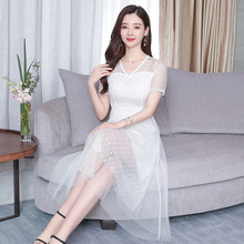 Elegant Women Lace Dress Hollow Out White Summer Dress Slim Sexy V-neck Short Sleeve Party Lady Dress Vestidos 2019 цена и фото