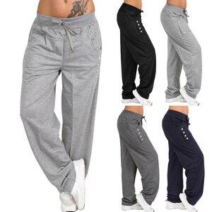 Image 2 - נשים מקרית Loose ספורט הרמון מכנסיים טרנינג רחב רגל גבוהה מותן תחרה עד ישר רצים מכנסיים בתוספת גודל Pantalon femme