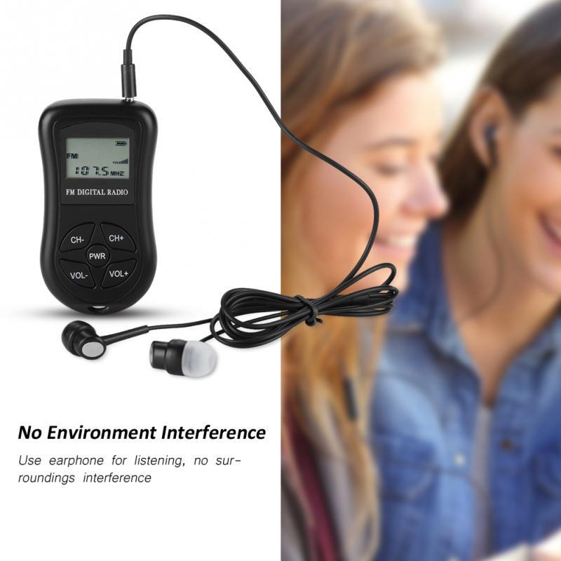 DSP LCD Display Personal Mini Digital Radio with Earphones Lanyard Portable Digital Radio