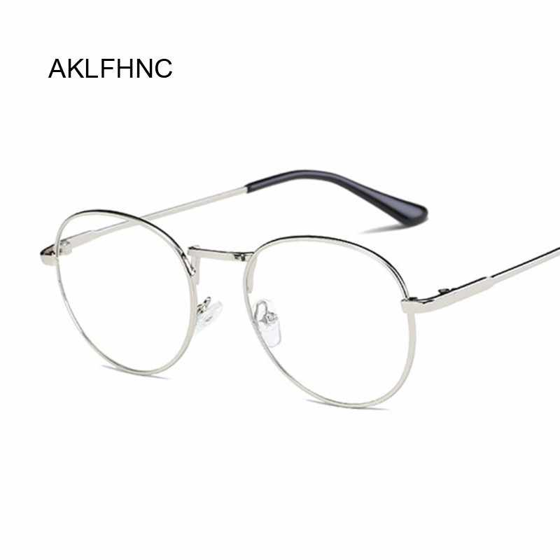 445aa40528 Fashion Retro Round Glasses Frame For Women Men Circle Metal Frame Vintage Oval  Eyeglasses Clear Lens