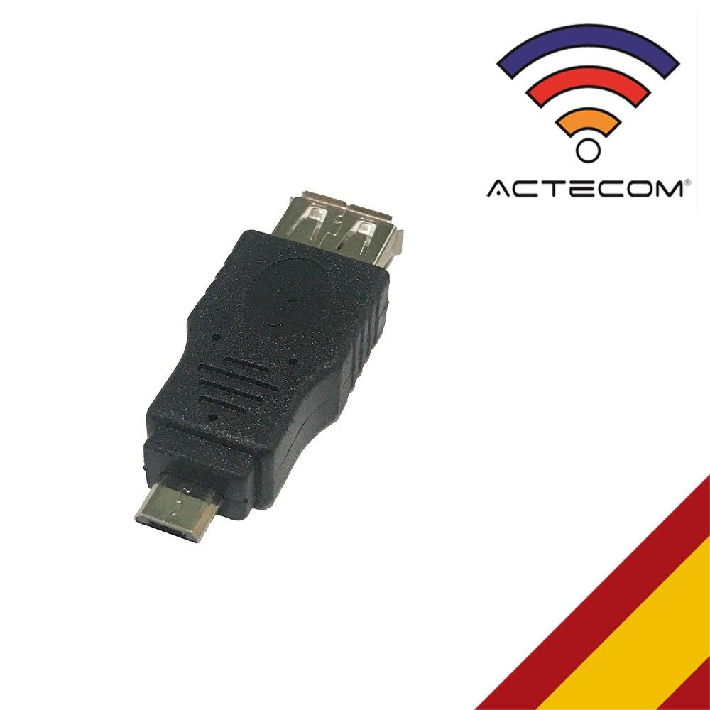 ACTECOM Adaptador Micro USB Macho OTG A USB Hembra Universal Smartphone Tablet