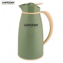 Термос-кувшин со стеклянной колбой Webber 31004/13S 1,0 л, серо-зеленый, с узкой горловиной со стеклянной колбой, для хранения и розлива горячих и холодных напитков, заваривания чая и различных травяных сборов