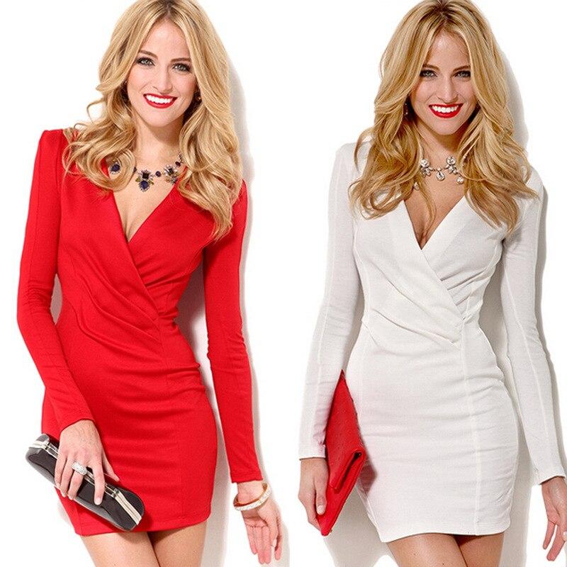 2019 Europa Stil Wird Code Frühling V-ausschnitt Langarm Andere Sexy Mini-kurzen Rock Weiß Split Joint Kleid Heißer Verkauf Warm Und Winddicht