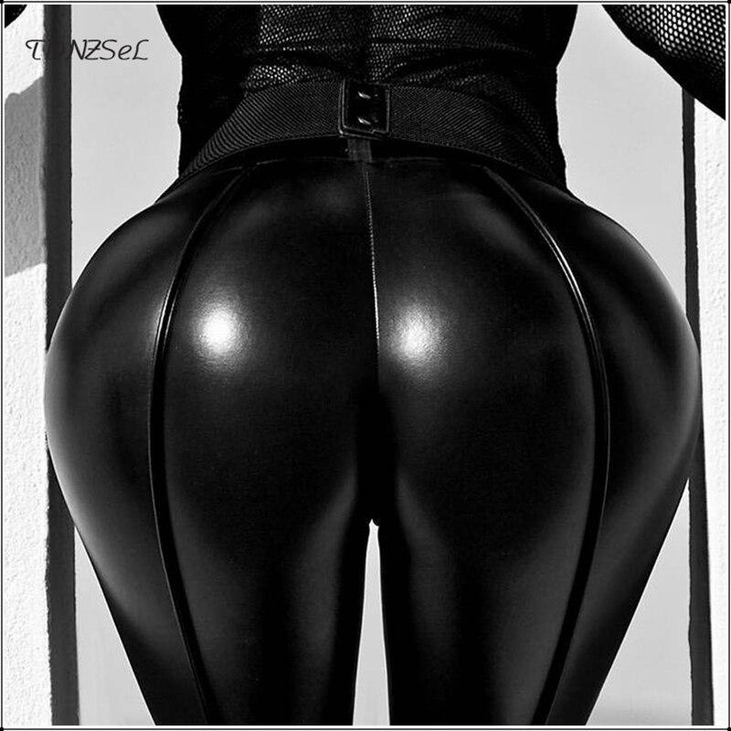 Women Sexy Black PU Leather Skinny Pencil   Pants   Mid Waist Bodycon Leggings Trouser Package Hip Nightclub Party Slim Peach   Capris