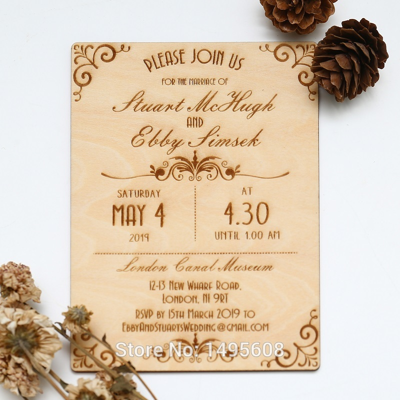 Us 13 43 16 Off Wood Wedding Invitation Art Deco Scroll Design Real Wooden Invite In Cards Invitations From Home Garden On