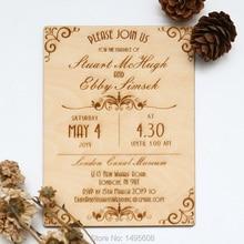 Wood Wedding Invitation - Art Deco Scroll Design Wedding Invitation - Real Wooden Invite(China