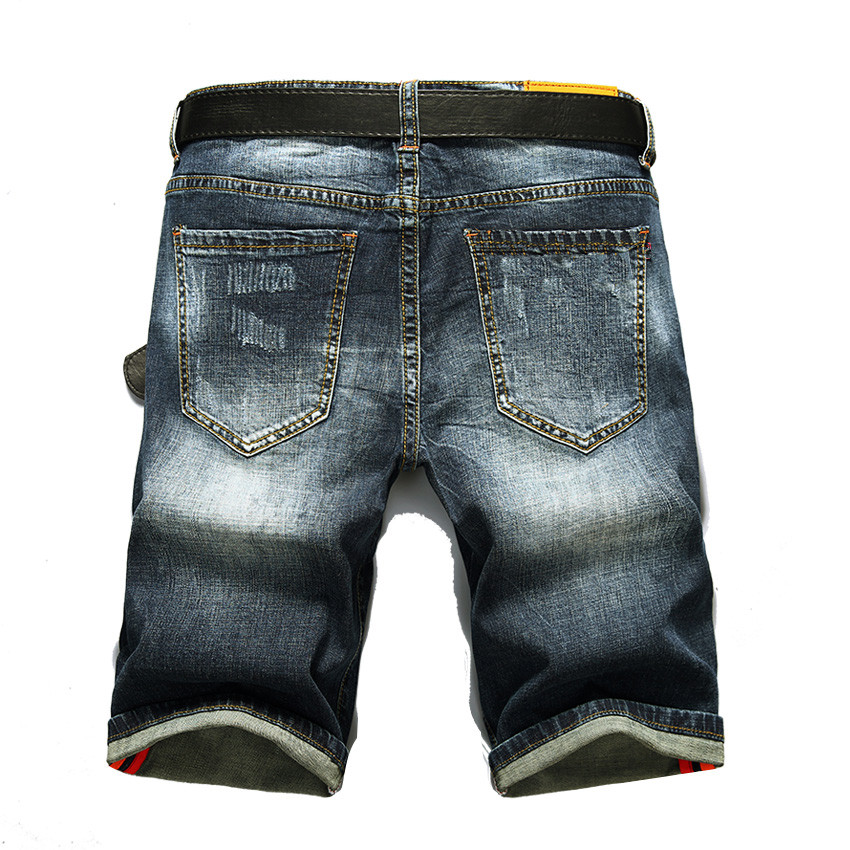 Summer New Fashion Men Short Jeans Holes Denim Short Jeans Men Slim Fit Men Denim Shorts