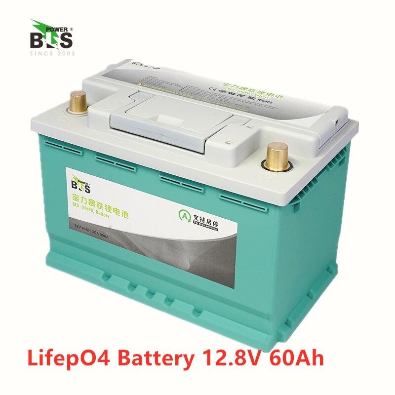 BLS lithium 12 V 60AH lifepo4 batterie BMS 4 S 12.8 V 900CAA pour démarreur automobile RV bateau onduleur moniteur RV + 10A chargeur