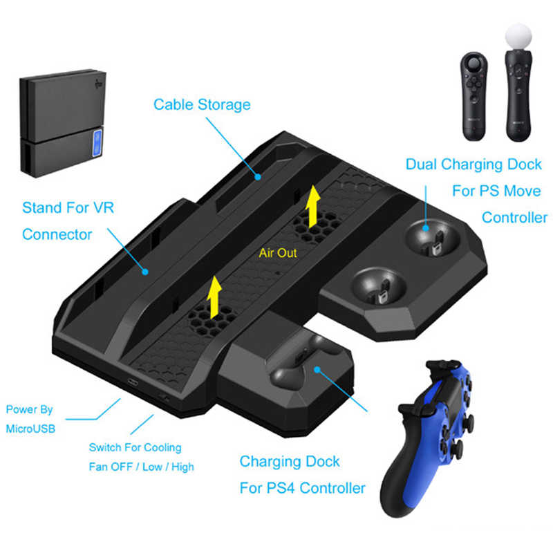 Play Station 4/Slim/Pro консоли вертикальная подставка с вентилятором PS4 VR очки разъем комплект для хранения джойстик PS4 PS Move зарядная станция