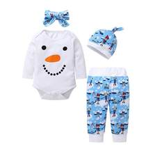 Baby Suit Infants Baby Kids Unisex Toddler Long Sleeve Cartoon Moon Pattern T-shirt Suit Hat Hairband newborn baby clothing(China)