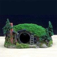28.5*18*15cm Artificial House Creative Aquarium Rockery Landscaping Cave Decorations Resin fish tank ornament A9150