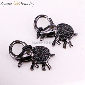 Image 3 - 5PCS ZYZ324 9747 CZ Micro Pave Elephant Lobster Claw Clasp, Cubic Zirconia Pave elephant Connector/Clasp/link, in Mix Colors