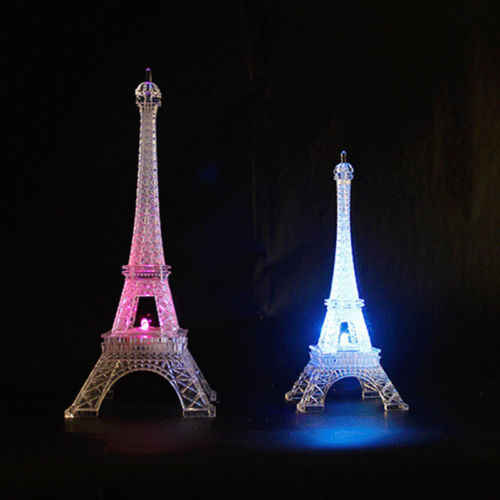 Hot Sale Bedroom Wedding Party Decor Artistic Design Colorful Eiffel Tower Night Light LED Lamp Desk Miniatures