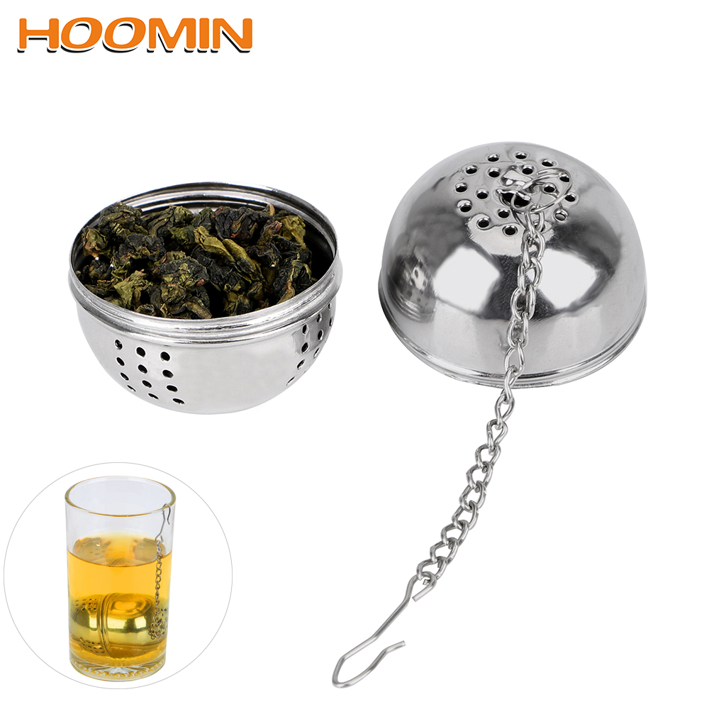 HOOMIN Stainless Steel Ball Shape Tea Infuser For Loose Tea Leaf Spice Mesh Filter Tea Strainer Home Kitchen Accessories