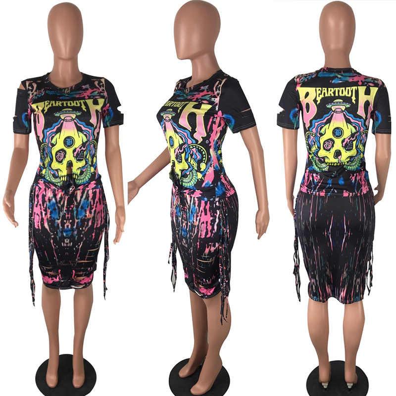 DUA SEPOTONG SET Midi Rok Tengkorak Cetak Lengan Pendek T Shirt Plus Ukuran Besar Gaun Wanita Pakaian Streetwear Harajuku Musim Panas 2 BUAH