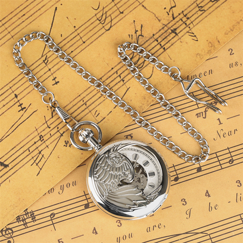 Exquisute Phoenix Half Hunter Mechanical Pocket Watch Roman Numerals Pendant Watch Gifts for Men Women High Quality Hand-Wind