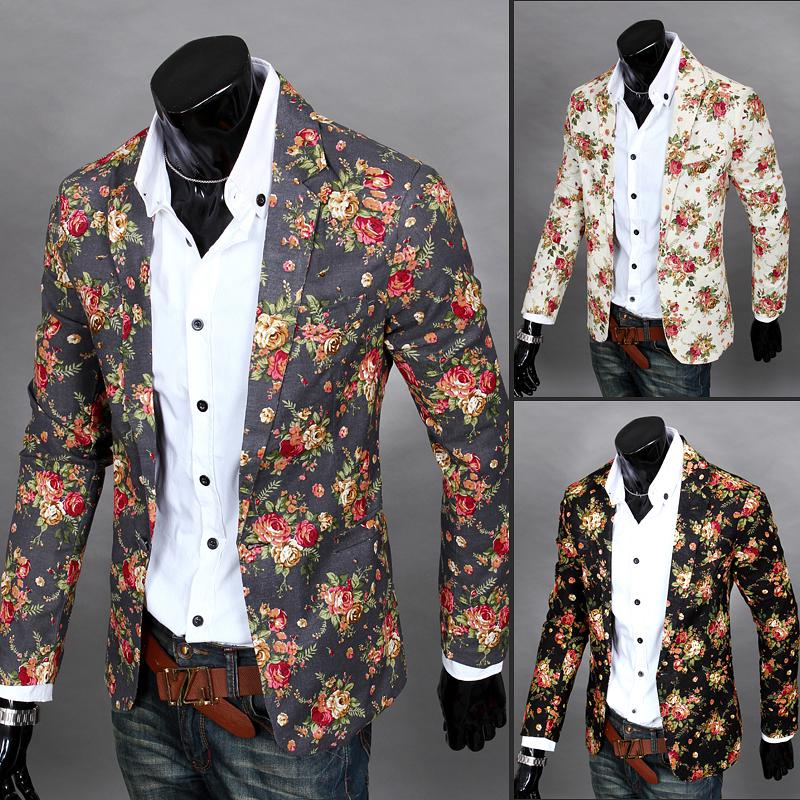 Mens Blazers Suit Painting Floral-Jacket Slim-Fit Party Male Fashion Single-Button-Suits