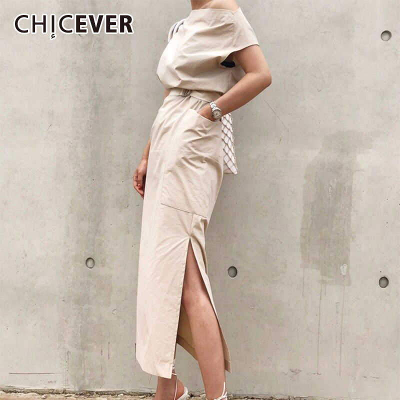 CHICEVER 2019 Summer Dress For Women Sexy Slash neck Big Pocket Waist Lace Up Hem Split Slim Dresses Female Korean Fashion Tide