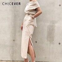 ef0048f4cfb CHICEVER 2018 Summer Dress For Women Sexy Slash neck Big Pocket Waist Lace  Up Hem Split