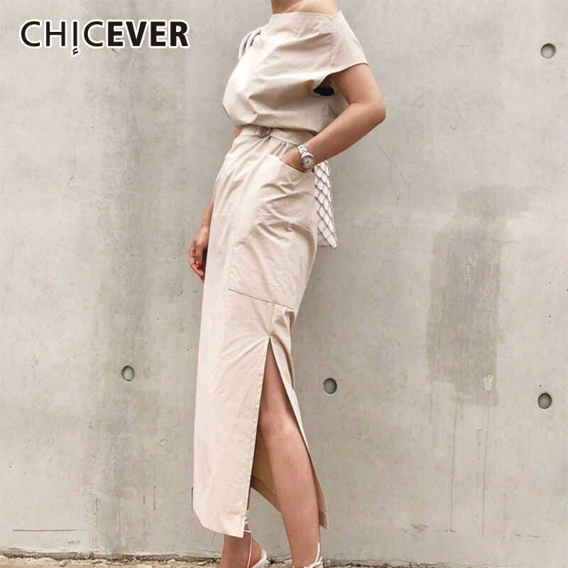 CHICEVER 2018 летнее платье для женщин Сексуальная Слэш средства ухода за кожей Шеи большой карман талии кружево до подол разделение тонки