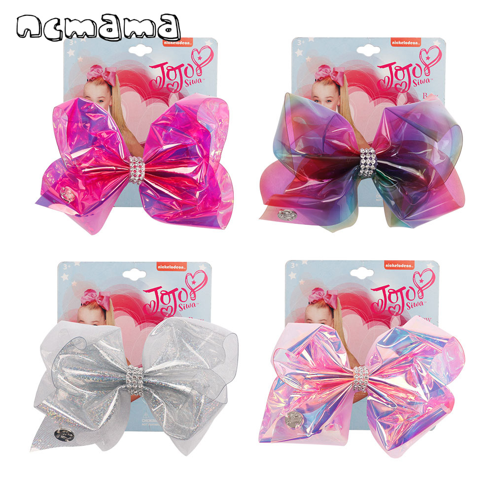 Hair Accessories 5.5inch  Jojo Bows Jelly Hair Bows With Rhinestone Knot Hair Clips Pool Swim Party Hairgrips Kids Headwear