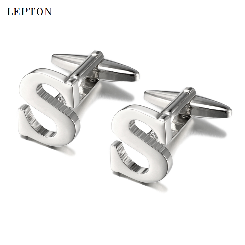 Hot Sale Letters S Cufflinks For Mens Lepton High Quality Gold & Silver Color Metal Wedding Men Shirt Cuff Links Gemelos