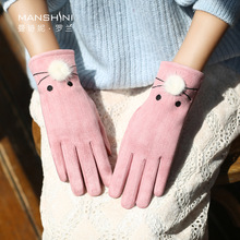 Gloves woman Winter Touch Screen velvet lining warm lovely gloves student goves winter cold-proof warm telefingers gloves 0225 цена
