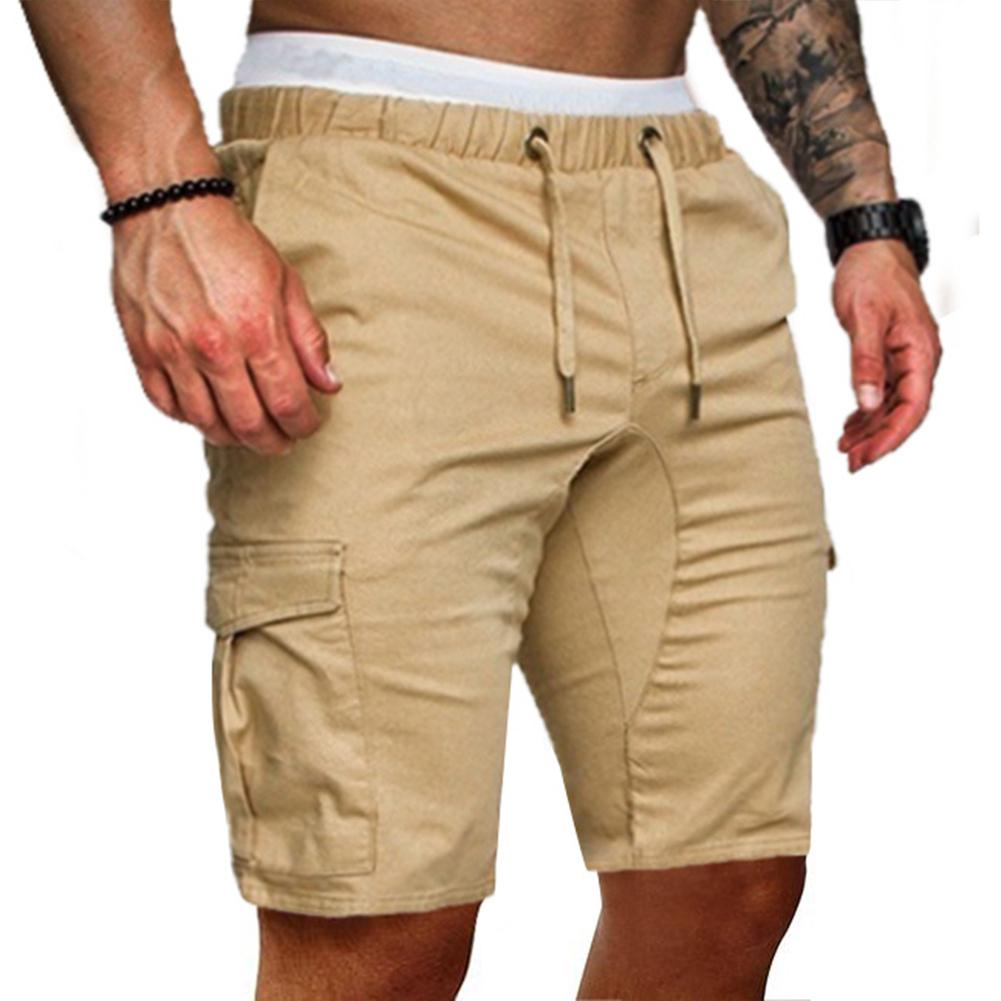MISSKY Men Summer Shorts Solid Color Concise Casual Drawstring Fashion Sports Pants Shorts Male Clothes