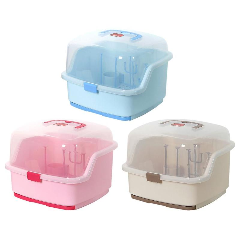 Portable Baby Bottles Storage Box Drying Rack Plastic Tableware Dry Case Cleaning Dryer Drainer Storage Nipple Shelf Container