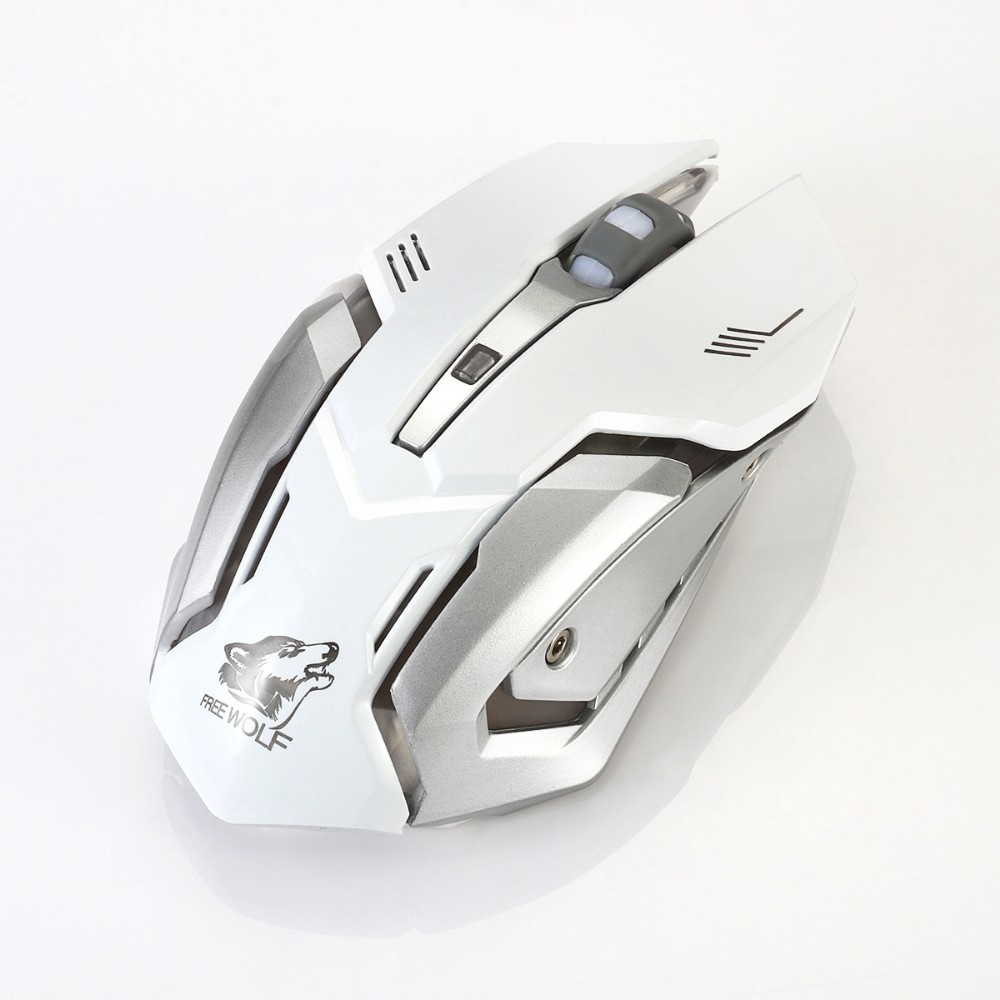 White Led Laser Light Gaming Mouse 1600DPI USB Charger Battery X7 Metal Wireless Mouse Gamer For Overwatch Mause Wireless