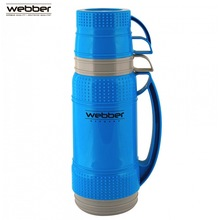 31002/4S Термос со стеклянной колбой Webber 1,8 литр, синий, Термос с узкой горловиной со стеклянной колбой предназначен для хранения и розлива горячих и холодных напитков, заваривания чая и различных травяных сборов