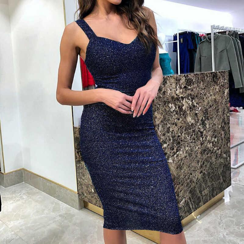 Świecący cekiny sukienka kobiety kostium na przyjęcie urodzinowe Shinny Spaghetti sukienka na ramiączkach bez pleców bez rękawów Bodycon sukienki Vestidos