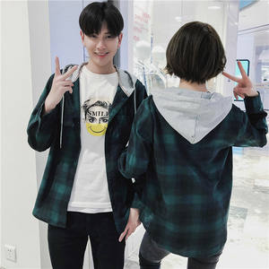 Shirt Spring Japan-Style Fashion Streetwear Best Camisa Lattice Even-Hat New-Product