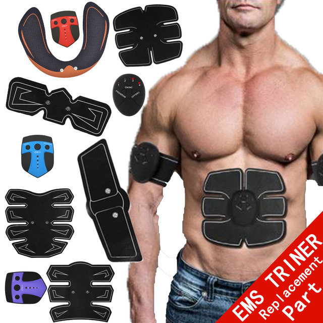 2pc Replacement Part Muscle Stimulator EMS Figure Slimming Machine Abdominal Muscle Tens Exercise Slim Belt Rechargeable Black